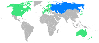 1988 Winter Paralympics - Participating countries; first time participants are blue.