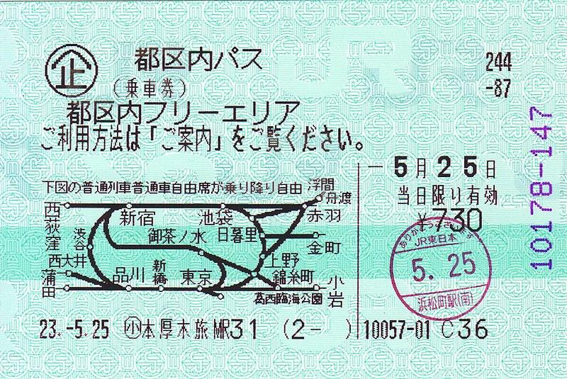 Passe de transporte público em Tokyo