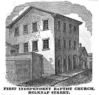 Boston African American National Historic Site - Image: 1st Independent Baptist Belknap St Boston Homans Sketches 1851