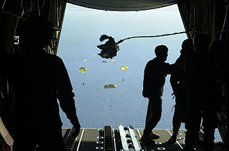 1st Commando Regiment (Australia) - Commandos from 1st Commando Company parachute with inflatable boats from an RAAF C-130H into Shoalwater Bay during an exercise in 2001