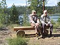 2005. Research plant pathologists Lew Roth (left) and Jim Barrett(?) at the Lewis Roth Dwarf Mistletoe Trail dedication. North Twin Lake, Deschutes National Forest, Oregon. (27842688109).jpg