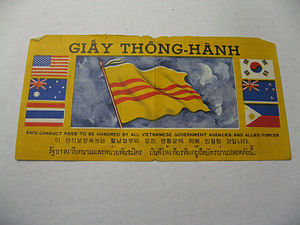 Safe conduct - Safe conduct pass, issued by American forces and air dropped in Vietnam to encourage defection of North Vietnamese and Viet Cong forces.