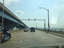 2013-08-21 11 14 00 View east along New Jersey Route 37 on the Barnegat Bay Bridge at the drawbridge traffic light.jpg