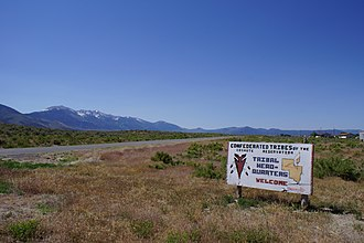 Confederated Tribes of the Goshute Reservation - Welcome sign in Ibapah, Utah