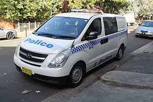 Law enforcement in Australia - A New South Wales Police Force Hyundai iLoad used as a prisoner transport vehicle