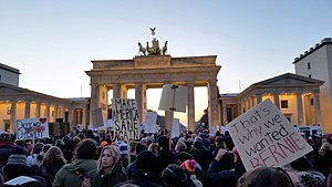 International reactions to the United States presidential election, 2016 - An anti-Trump protest in Berlin, Germany in front of the Brandenburg Gate