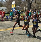 2016 Boston Marathon lead women at mile 19.jpg