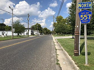 County Route 557 (New Jersey) - View north along CR 557 at CR 550 in Woodbine