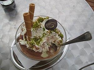 Pistachios on ice cream, Salzburg, Austria