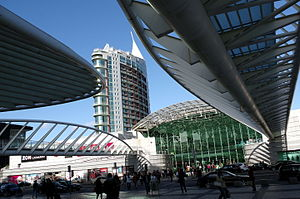 Gare do Oriente - A view of the Vasco da Gama Commercial Centre across from the station