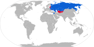 152 mm howitzer 2A65 - Map of 2A65 operators in blue with former operators in red