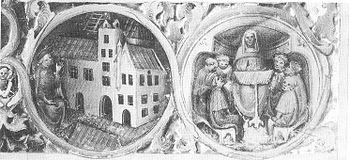 Illumination around 1400;  left: Duke Albrecht III.  hands over the Herzogskolleg to the university;  right: a theological lecture