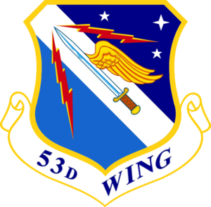 53d Test and Evaluation Group - 53d Wing Emblem The group uses this emblem with the group designation on the scroll