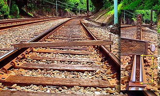 "Track geometry - Railroad track spirit level in place indicating 5"" of superelevation between the inside and outside rails of a curve along the Keystone Corridor near Narberth, PA."