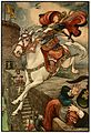 9 She put her good steed to the walls the leapt lightly over them - Russian Fairy Book 1916, illustrator Frank C Pape.jpg