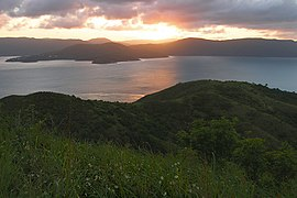 A206, Whitsunday Islands National Park, Australia, sunset over mainland from summit of South Molle Island, 2007