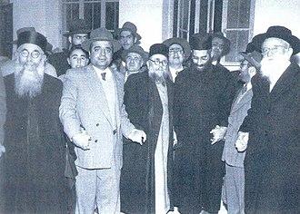 Ezra Attiya - Rabbis of Porat Yosef Yeshiva in 1952. Left to right: Rabbis Yaakov Ades, Ben Zion Abba Shaul, Ezra Attiya, Mansour ben Shimon.