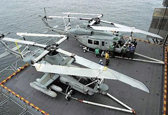 H-1 upgrade program - An AH-1Z Viper and a Bell UH-1Y Venom during trials aboard the USS Bataan (LHD-5) in 2005
