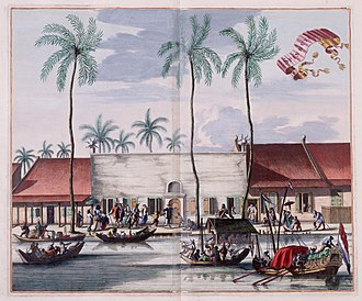 Western imperialism in Asia - Dutch settlement in the East Indies. Batavia (now Jakarta), Java, c. 1665.