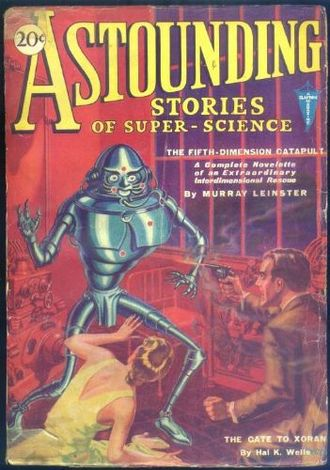 "Murray Leinster - Leinster's ""The Fifth-Dimensional Catapult"" was the cover story in the January 1931 Astounding Stories"