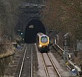 AXC Class 220 emerging from Claycross Tunnel (5401482806).jpg