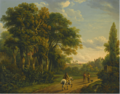 A HORSEMAN AND FIGURES ON A COUNTRY LANE.PNG
