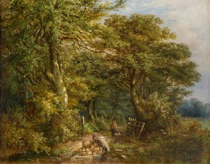 A Lane at Hamstead, Staffordshire by William Ellis