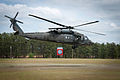 A UH60 Black Hawk helicopter takes off from the 82nd Airborne Division parade ground following a reconnaissance of the Yudh Abhyas 2013 training area.jpg