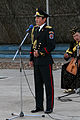 A member of the Mongolian Military Song and Dance Academic Ensemble sings a traditional war song during a Mongolian culture event as part of exercise Khaan Quest 2013 at the Five Hills Training Area in Mongolia 130804-M-DR618-039.jpg