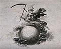 A winged skeleton holding a scythe flies above a globe. Etch Wellcome V0042206.jpg