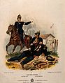 A wounded soldier is helped on the ground by a medical offic Wellcome V0015751.jpg
