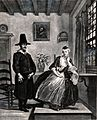 A young woman sits and listens with scorn to a man's declara Wellcome V0039007.jpg