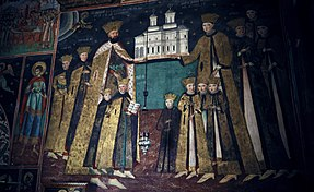 Aaa001 Constantin Brâncoveanu and family mural from 1709 at Hurezi monastery.jpg