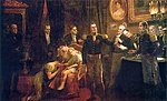 A painting showing a crowded room in which a uniformed man hands a sheaf of papers to another uniformed man while in the background a weeping woman sits in an armchair holding a young boy before whom a woman kneels