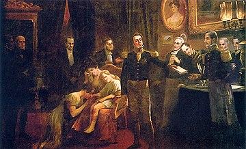Representação da abdicação de Pedro I.