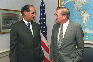 Abdul Sattar (diplomat) - Image: Abdul Sattar with Donald Rumsfeld, at the Pentagon, 2001