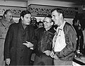 Actor Louis Jourdan, Unidentified man, Mayor Raymond L. Flynn (9519679242).jpg