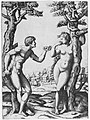 Adam and Eve flanked by two trees, a town in the background MET MM14113.jpg