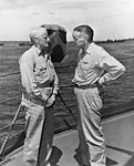 Adm. Chester W. Nimitz and Adm. William F. Halsey aboard USS Curtiss (AV-4) at Espiritu Santo, 20 January 1943 (80-G-34822).jpg