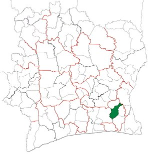 Adzopé Department - Image: Adzopé Department locator map Côte d'Ivoire