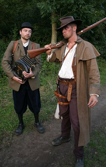 "A writer and a huntsman from the Danish LARP ""Agerbørn - The Crossroads"""