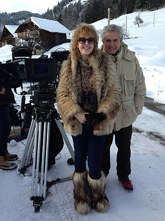 Agnès Soral - On the set of Salaud, on t'aime directed by Claude Lelouch, in 2014