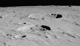 Agrippa (crater) - Oblique view facing north from Apollo 16, at a different lighting than the image above.