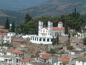Desfina - View of the church of Agios Charalambos.