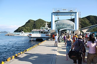 Aka Island - Day trippers and locals boarding the return ferry from Aka-jima to Okinawa