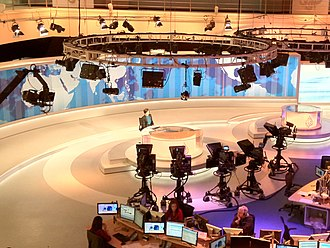 Live news, such as Al Jazeera, will use multiple-cameras for their live broadcasts. Al Jazeera English Newsdesk (cropped).jpg