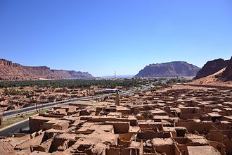 Hejaz - The city of Al-`Ula in 2012. The city's archaeological sector is in the foreground, with the Hijaz Mountains in the background.
