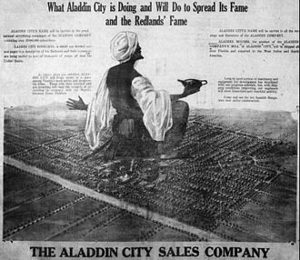 Aladdin City, Florida - Homestead Leader advertisement showing layout of planned city