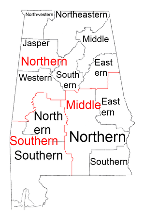 Courts of Alabama - Map of U.S. District Courts