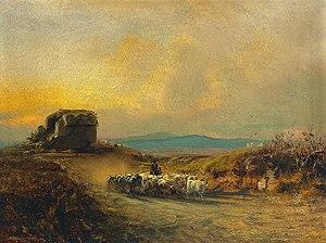 Albert Arnz - Heimkehrende Langhornrinder in der Campagna Romana, 1879